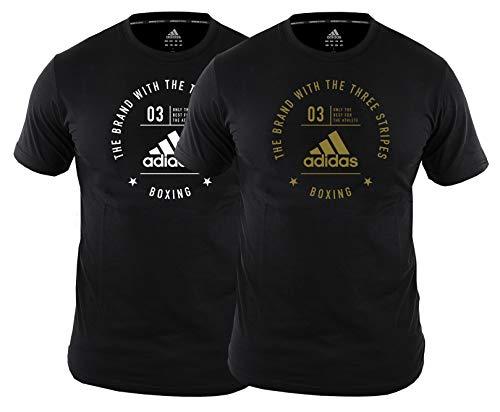 adidas Boxing T-Shirt Men Women Gym Training Workout Tee Boxe Uomo Donna Top Palestra Allenamento Fitness Maglietta per Adulti, Black/Gold, XL