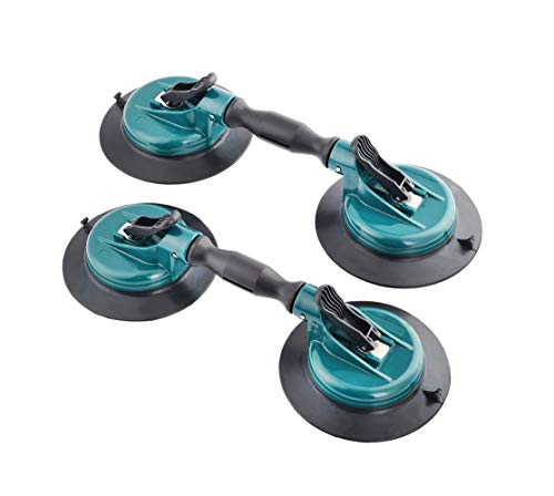 ZUOS Glass Lifter Dual Cups, Heavy Duty Vacuum Plate with Adjustable Handle Glass Holder to Lift Large Glass/Auto Glass Windshield Installation/Tiles Mirrors Moving, (2 Pack)