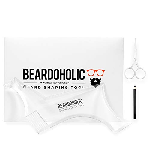 Beardoholic Beard Shaping Tool – 9-in-1 Completely Transparent Design – Achieve Perfectly Precise Lines and Any Beard Shape – Lineup Pencil, Built-In Comb and Trimming Scissors for Maximum Accur