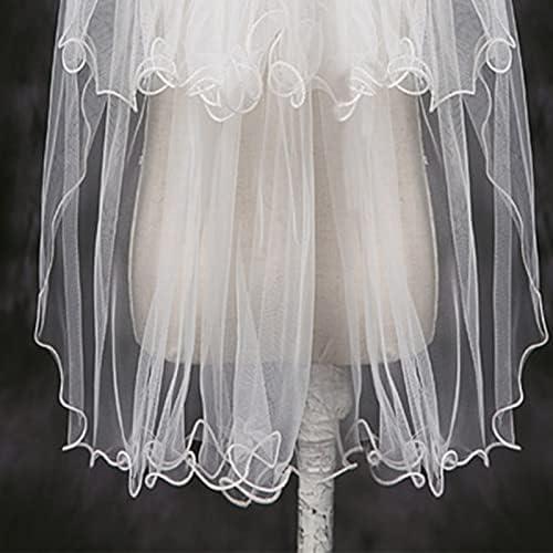 XKMY 2 Tier Wedding Veil with Comb for Kids Curly Edges Tulle Veil for Flower Girl Short Length Girls Communion Headwear