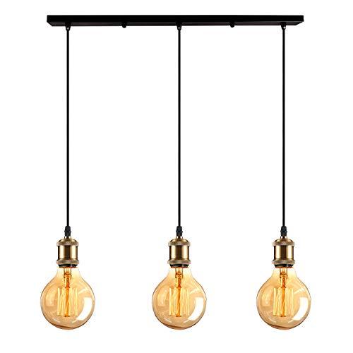 iDEGU 3-flammig Vintage Pendelleuchte, Retro Edison Hängelampe Metall LED Pendellampe Hängeleuchte mit E27 Lampenfassung Deckenfassung Lampe Sockel Fassung - Messing