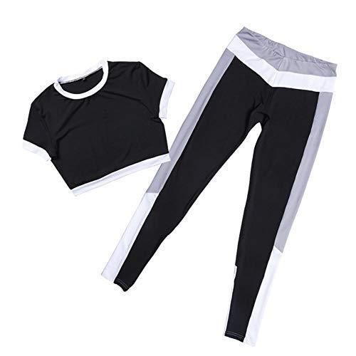 YPDM korte mouwen blootgesteld sportkleding, tweedelige leggings sportbroek, T-shirt sneldrogend comfortabel ademend fitnesspak, geschikt voor binnen- en buitensporten