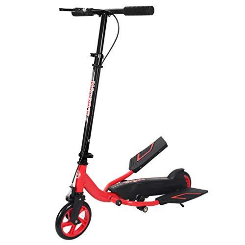 Patinete Adulto Patinete para Niños con Ruedas Grandes y Freno de Mano, Scooter de Cercanías Plegable Ajustable, Diseño de Cadena de Innovación, Carga 75 Kg, Rojo (Color : Style 2)