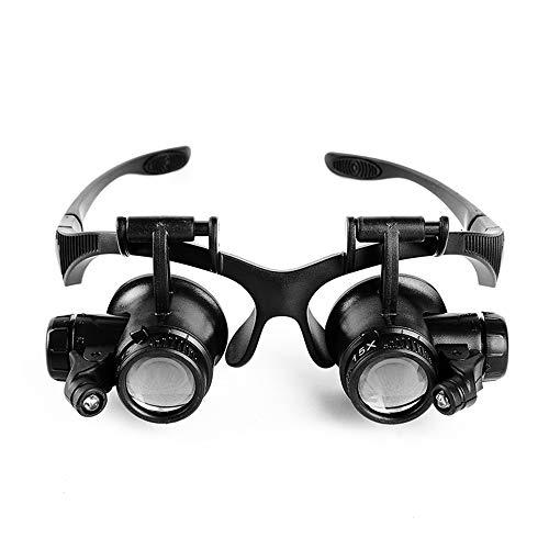 Lupa de cristal para gafas y lámpara LED para relojería, lupa de lectura, cirugía