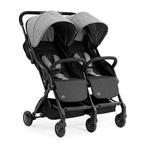 Innovaciones MS Twin - Silla de Paseo Gemelar, ligera y compacta - Homologada hasta 22 kg - Color Gris/Negro 21502