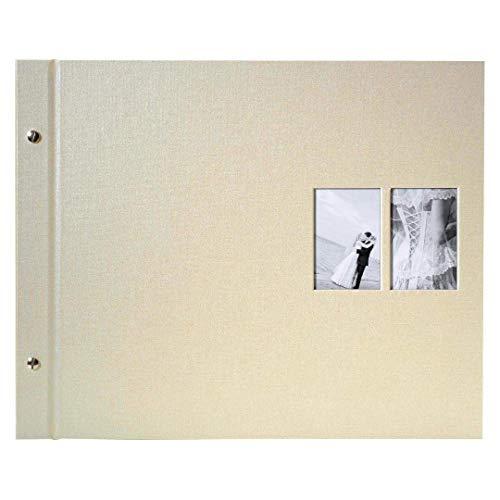 goldbuch Schraubalbum mit Fensterausschnitt, Chromo, 39 x 31 cm, 40 weiße Seiten mit Pergamin-Trennblättern, Erweiterbar, Beschichtetes Leinen, Beige, 28847