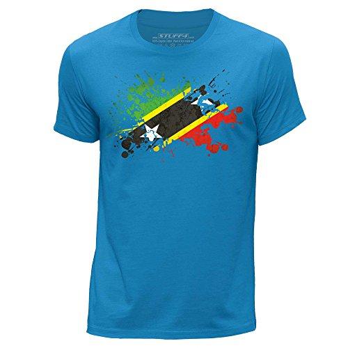 Stuff4 Heren T-Shirt/Saint Kitts en Nevis Vlag Splat/Ronde hals Casual Korte Mouw 100% Organisch Katoen