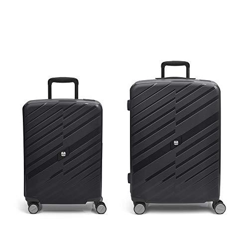 Gabol – Sendai | Rigid, Black Travel Suitcase Set with Cabin Trolley and Medium Trolley