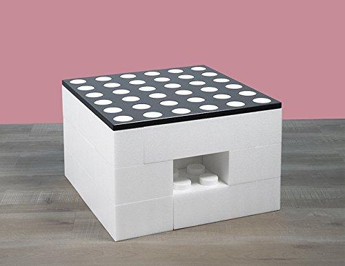 BAM - Table basse blanche modulable avec rangements 57x57x36,5cm