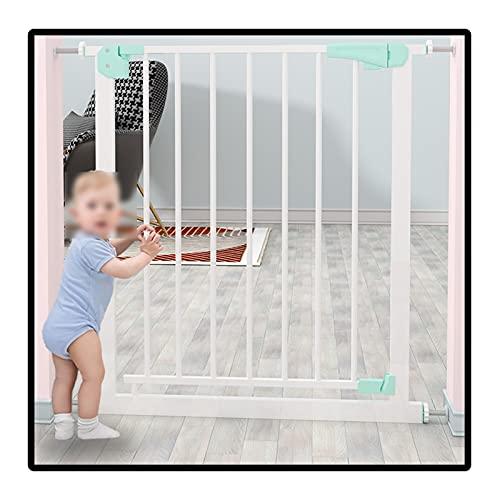 QIANDA Barrera Seguridad Niños Protector Escaleras, Alto 78cm Puerta para Niños Auto Cerrado Sin Perforación Ideal para Puertas Y Escaleras, Instalación Fácil (Color : White, Size : 83-90cm)