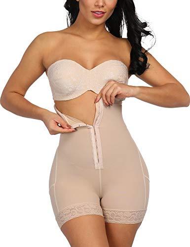 FeelinGirl Mujer Shapewear Modeladora Faja Reductora Adelgazantes Bodysuit de Cintura con Pierna Largo Dobladillo de Encaje Beige Cintura 66-72cm(S/Talla 36)