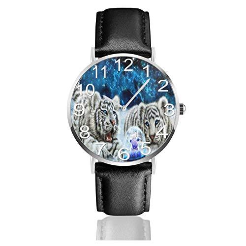 Reloj de Pulsera Arena de Nieve Tigres Cristales Bola Durable PU Correa de Cuero Relojes de Negocios de Cuarzo Reloj de Pulsera Informal Unisex