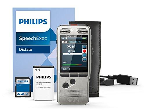 Philips DPM7200 Digitales Diktiergerät Aufnahmegerät, Bedienung per Schiebeschalter, 2 Mikrofone für ausgez. Stereo-Tonaufnahmen, Farbdisplay, Edelstahlgehäuse, inkl. Diktiersoftware SpeechExec 10