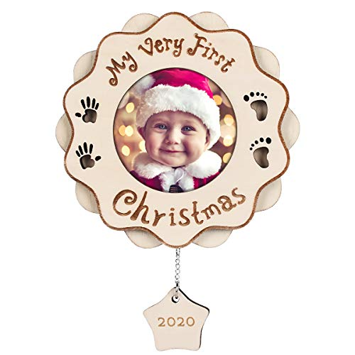HERZOME Baby's First Christmas Ornament Gifts 2020 My Very First Christmas Wood Picture Photo Frame Plaque Christmas Tree Decoration