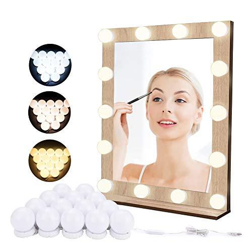 Luces de Espejo de Tocador LED Lámpara para Espejo de Maquillaje LED para Espejo Cosmético con Estilo Hollywood 14 Piezas Bombillas Regulables con Puerto USB, 10 Niveles de Brillo, 3 Modos de Color