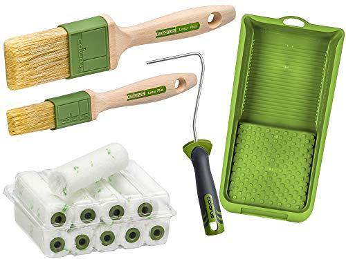 Colorus Premium Maler Set Lasur 14 tlg. | Lasur Set Mikrofaser Malerwalze | Lasurwalze Lasurpinsel Set | Pinsel für Holzlasur, Holzöl, Holzfarbe | Farbroller Bügel Farbwanne Flächenstreicher