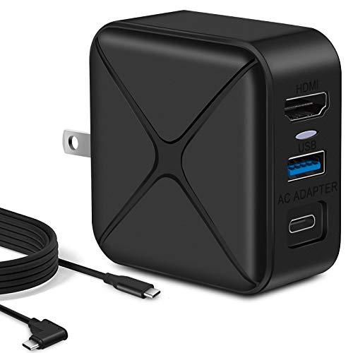 Switch対応 多機能ACアダプター HDMI変換アダプター Type C充電 USB3.0高速伝送 高解像度4K30Hz 2K60Hz PSE認証済 L型120cmType-Cケーブル 折り畳み式