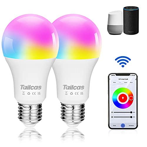 Alexa Glühbirnen, E27 Smart Led Lampe, 9W Wlan Birne Sprachsteuerung, APP-Steuerung, Timer, Kompatibel mit Alexa, Google Assistant, 2.4 GHz (2 Stück)
