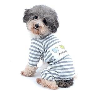 Ranphy Petit Chien/Chat tenues pour animal domestique Vêtements de coton Blanc à rayures Neutre JumpSuit pour chiot