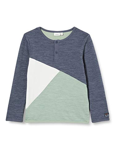 NAME IT Jungen NMMWUPPO Wool/CO LS TOP XX Pullover, Ombre Blue, 86