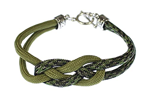 Celtic Knot Paracord Bracelet with Toggle Clasp (River Shannon olive green)