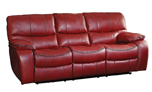 Homelegance Pecos Leather Gel Power Double Reclining Sofa, Red