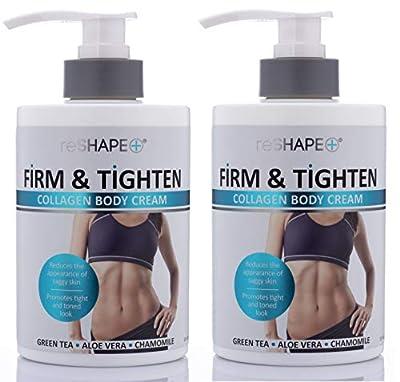 Collagen Body Cream Moisturizing, Tightening Cellulite Cream Improves Elasticity, Plumps Sagging Skin Body Lotion with Green Tea, Aloe Vera, Chamomile by Reshape, 15 oz.