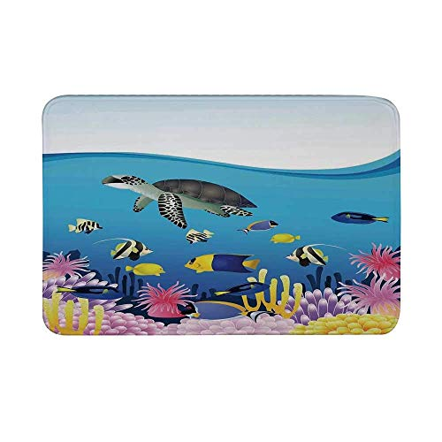 Alfombrilla antideslizante para ballenas, Ilustración de tortugas anémona de mar Goldfish Snorkel Alfombra de piso de dibujos animados de paisaje marino tropical Alfombra de baño para sala de estar Al