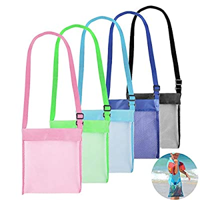 Beach Mesh Tote Bag 4 Pack - Two Size Foldable Beach Toys/Storage Bag, Reusable Sand Beach Toy Bag for Holding Children's Toys Swimming Equipment Storage & Other Beach Items