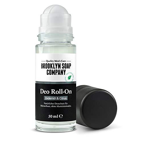 Natürliche Männerpflege: Deodorant (50 ml) Naturkosmetik der BROOKLYN SOAP COMPANY der Deo Roll-on für den modernen Mann frei von Aluminium frischender, holziger &...