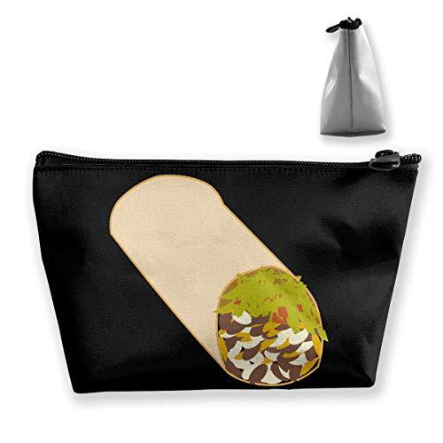 Iop 90p Burrito Lebensmittel-Make-up-Tasche, Trapezform, Aufbewahrungstasche für Reisen, Polyester, Schwarz, Einheitsgröße