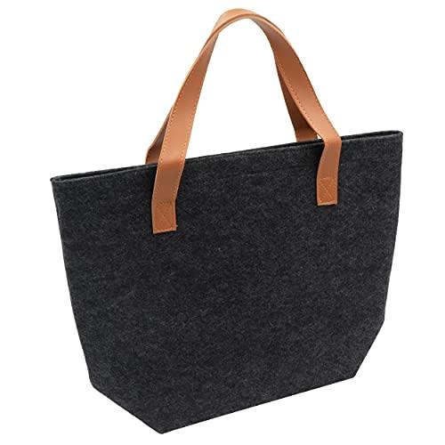 HRB faltbare Filztasche in anthrazit/braun , Aufbewahrungskorb filz, Handtasche Damen groß geeignet als Einkaufskorb oder Strandtasche vielseitige Tragetasche
