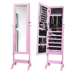 Pink Jewelry Armoire cabinet Box organizer