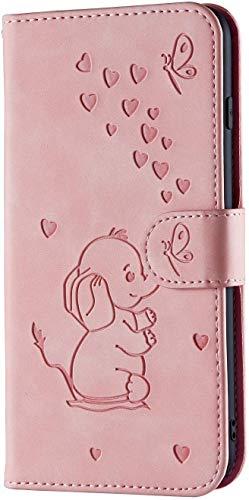 LEMAXELERS Custodia per Huawei P9 Lite Elefante in Rilievo Premium Pu Portafoglio Protettiva in Pelle,Anti-Slip Carta Slot Portafoglio Flip Magnetico Pieno Protettivo Slim Fit Cover,Elephant Pink