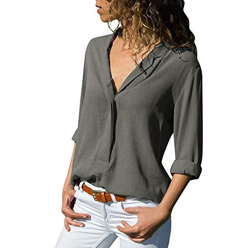 KUSUOU Donna Camicia,Camicetta Donna Elegante Manica Lunga A Quadri Collo Alto Moda Casual Maglietta Top Loose Cotone T-Shirt Pullover