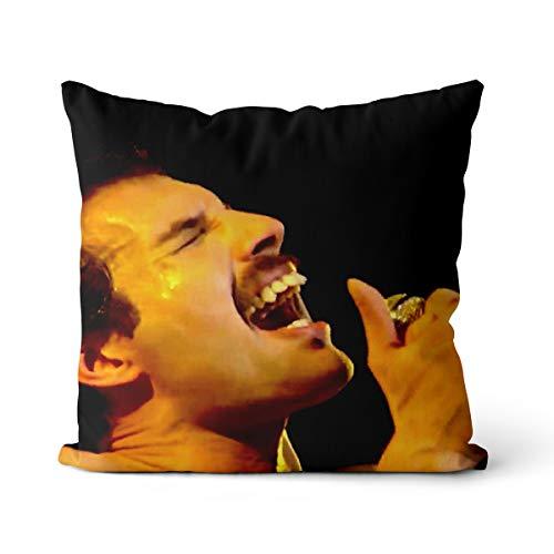Almohada Freddie Mercury 50x50cm músico británico Freddie Mercury Almohada de Relleno elástico con núcleo de Espuma viscoelástica