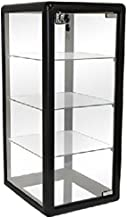 Only Hangers F-1302B Elegant Black Aluminum Table Top Tempered Glass Display Showcase, 27