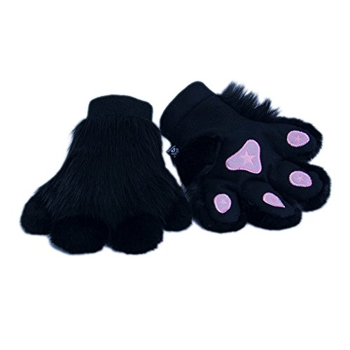 Pawstar Paw Mitts Furry Animal Hand Paws Costume Gloves Adults - Black