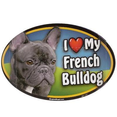 Oval Car Magnet - I Love My French Bulldog