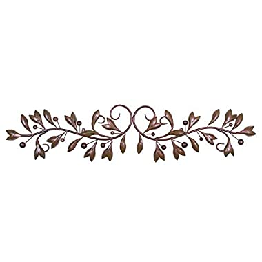 Brown Red Leaf & Beads Urban Design Metal Wall Decor for Nature Home Art Decoration & Kitchen Gifts
