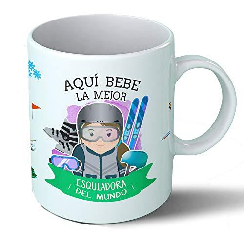 Planetacase Taza Desayuno Aquí Bebe la Mejor esquiadora del Mundo Regalo Original Ceramica 330 mL