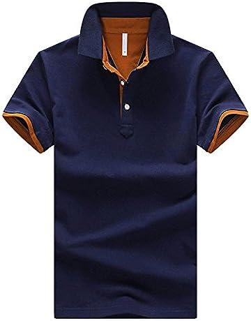 240ee5600fb85 CEEN メンズ ポロシャツ ボタンダウン 半袖 重ね着スタイル カジュアル シンプル 襟付き ファッション スポーツ ゴルフ