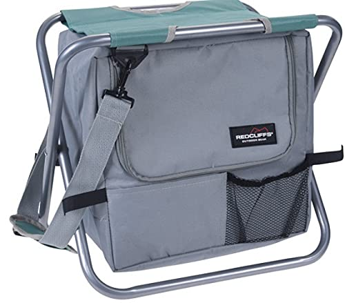 Redcliffs Tabouret de camping/sac en polyester Gris/vert 45 cm