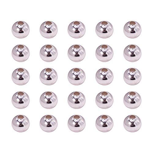 PandaHall 100PCS Perline Distanziatore Perline in Ferro Rotondo per Braccialetti collane Bigiotteria Gioielli Fai da Te, Colore Argento, 8mm, Foro: 3mm Accessori componenti di Gioielli