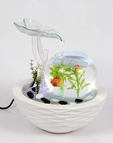 WeiVa Feng Shui Keramik - Glas Zimmerbrunnen mit LED Beleuchtung 220F Deko Fischglas