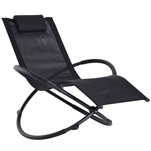 Outsunny Sedia a Dondolo Design Moderno per Interni ed Esterni Textilene 154x80x84cm Nero