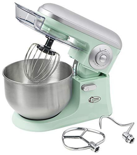 Bestron Küchenmaschine im Retro Design mit Schneebesen, Knethaken und Rührarm, Sweet Dreams, 1200 Watt, Mint