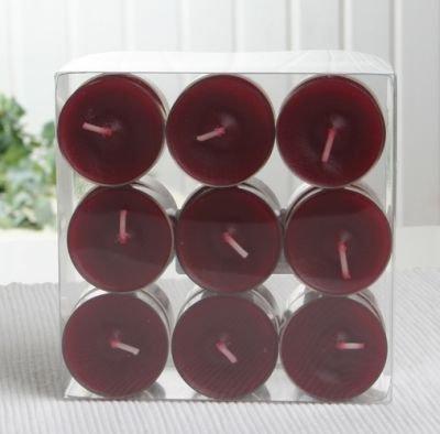 Teelichte in transparenter Hülle, 18er-Pack, altrot/bordeaux