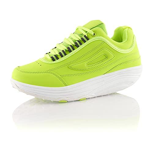 Fusskleidung® Damen Herren Sneaker Abrollsohle Sportschuhe leichte Gesundheitsschuhe Grün EU 38
