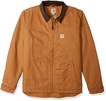 Carhartt Men s Full Swing Loose Fit Washed Duck Fleece-Lined Jacket Brown X-Large